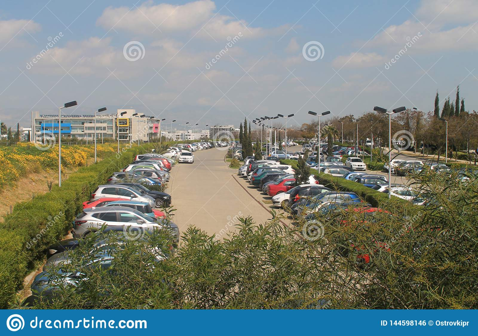 Busy outdoor parking lot in Nicosia