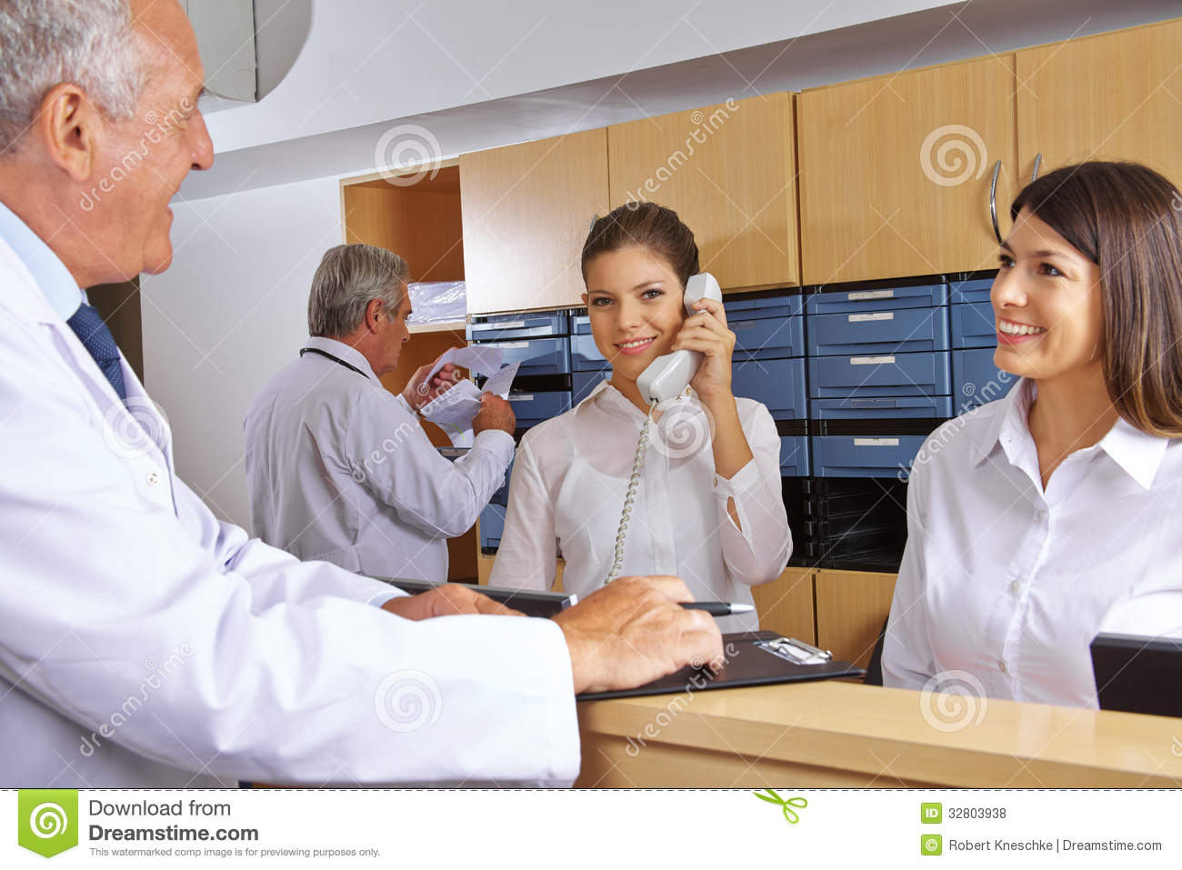 busy reception in a hospital