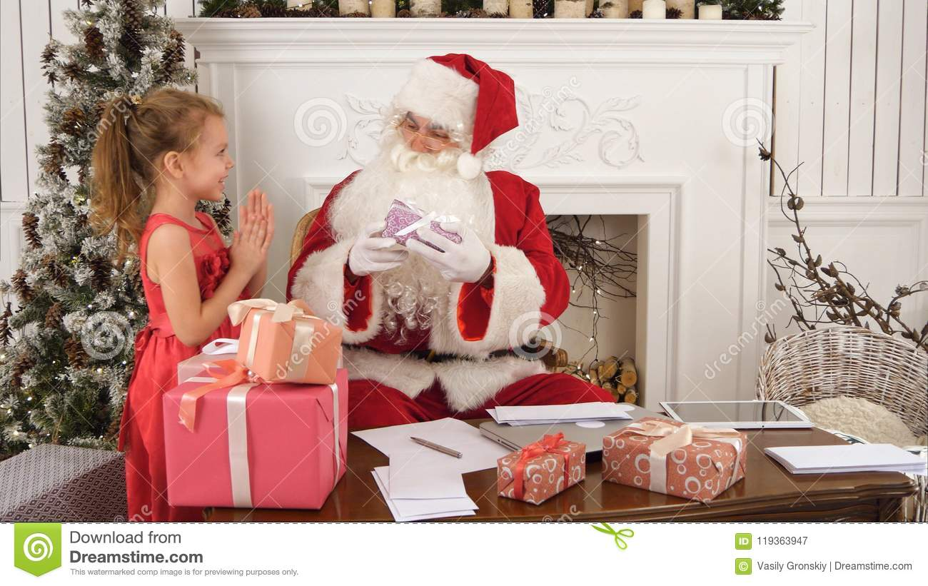 Busy Santa Sorting Chidlren`s Letters While Cute Little Helper ...