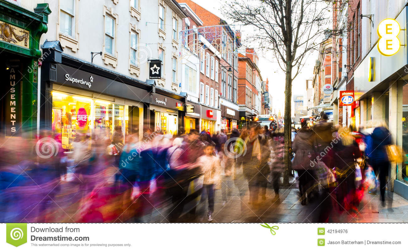 Busy shopping street 3 days after christmas editorial for Christmas decs sale