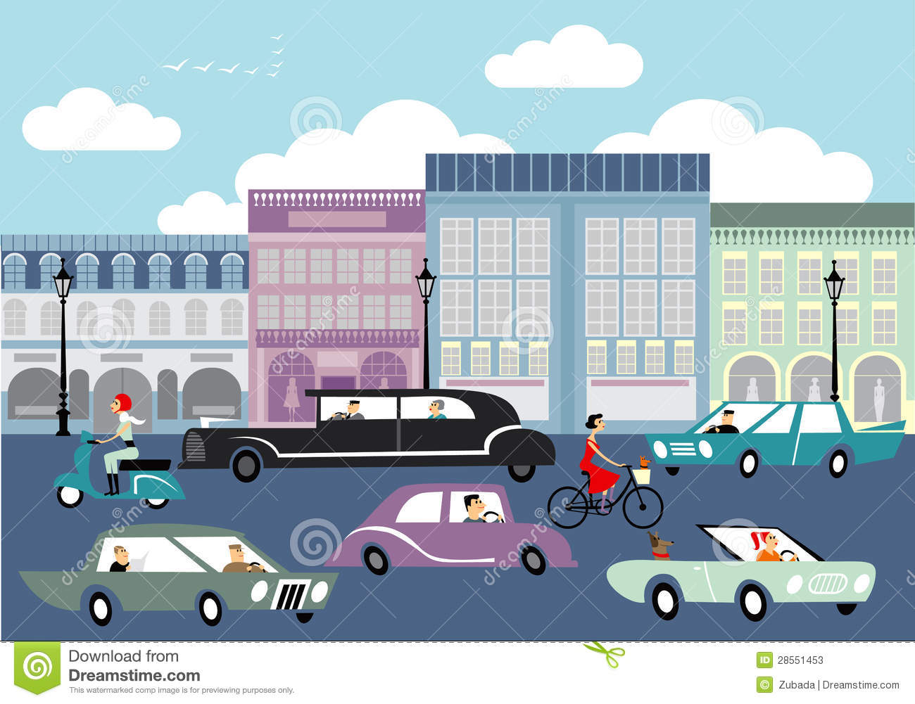 Cartoon Drawing Of A Street With Lots Cars