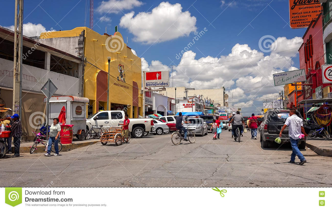 Busy Street In Mexican Border Town Of Nuevo Progreso, Mexico