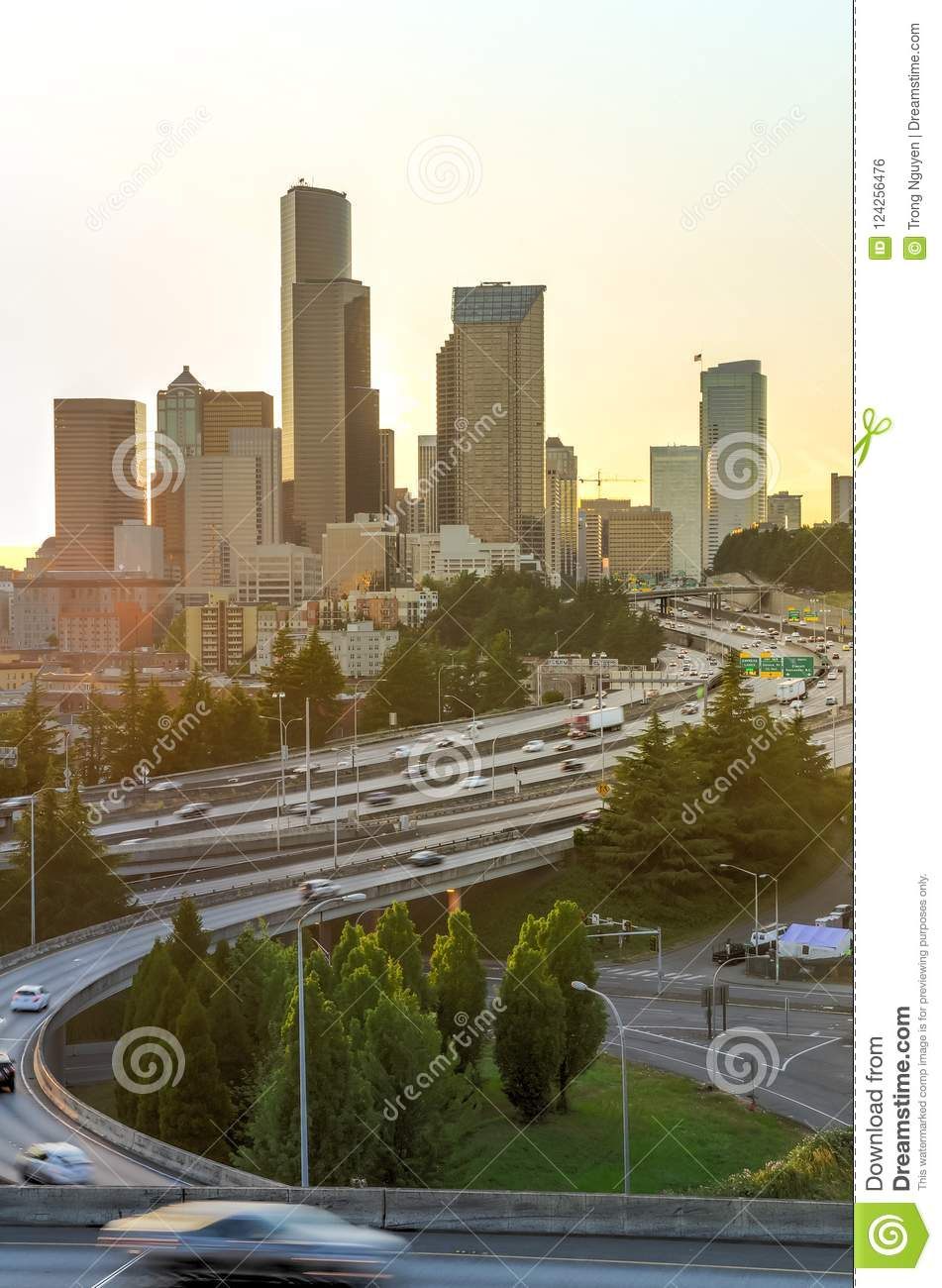 Close-up Seattle Skylines And I-90, I-5 Highway Traffic At