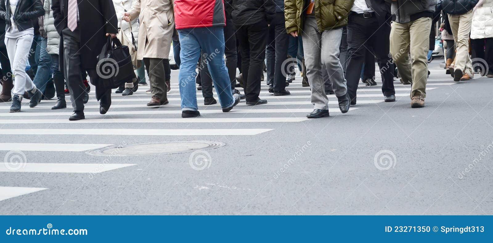 Busy walking people