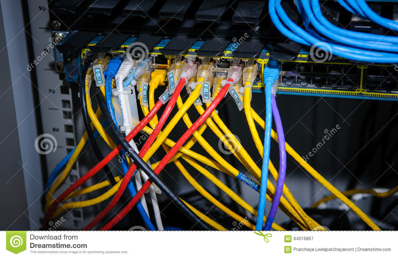 Busy Wire Ethernet Cables And Network Switch Stock Image - Image of ...