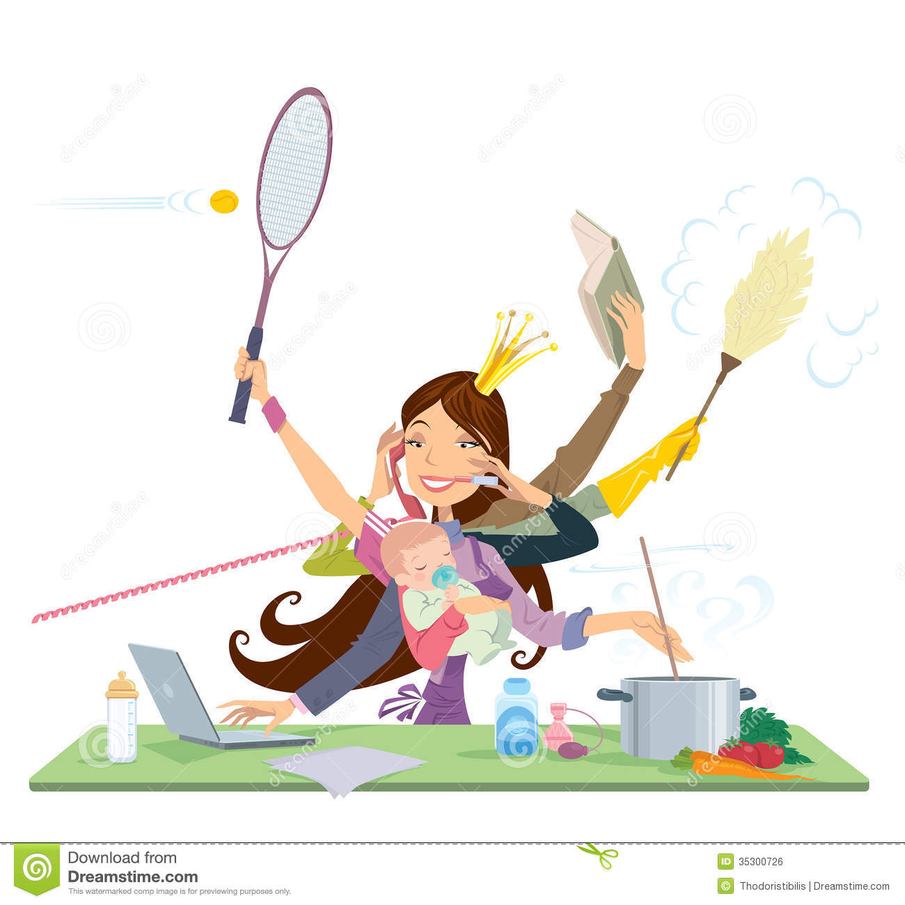 Busy woman doing many things at the same time royalty free stock image