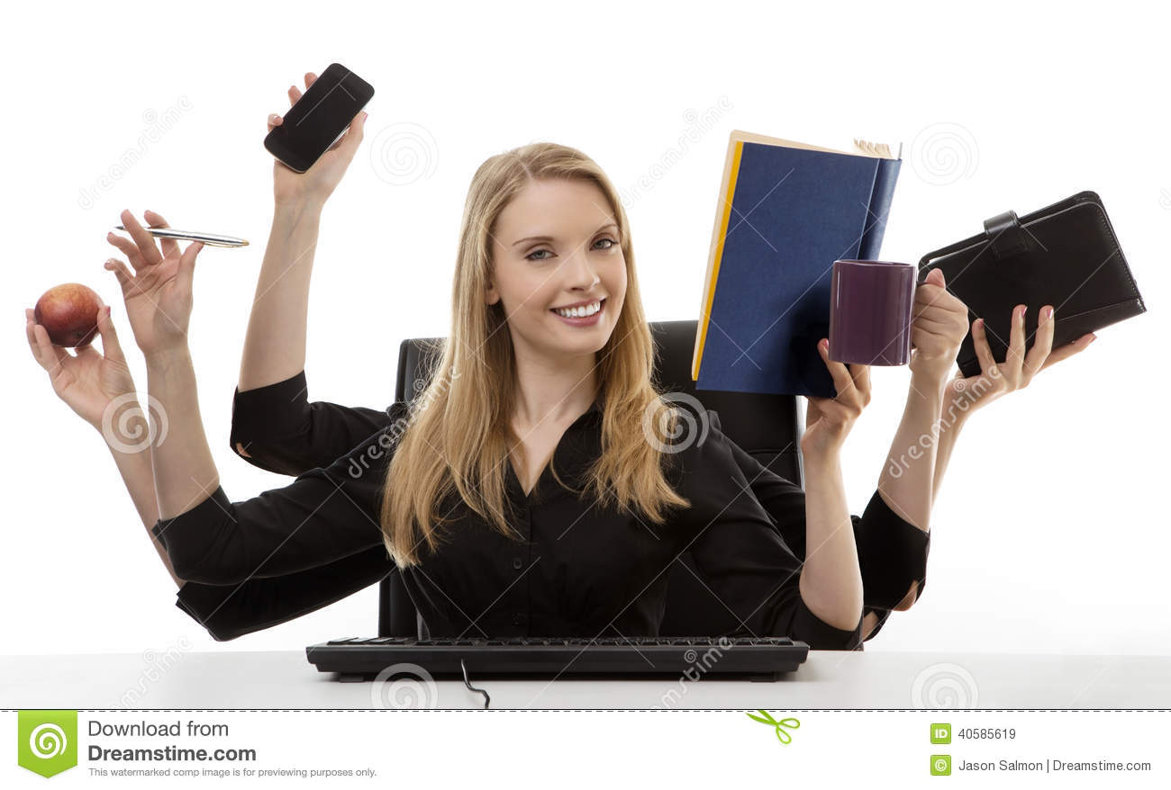 Busy woman at her desk stock image. Image of worker, hand ...