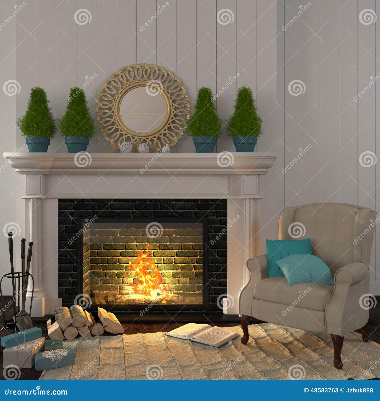 butaca beige del vintage cerca de la chimenea con la decoración de