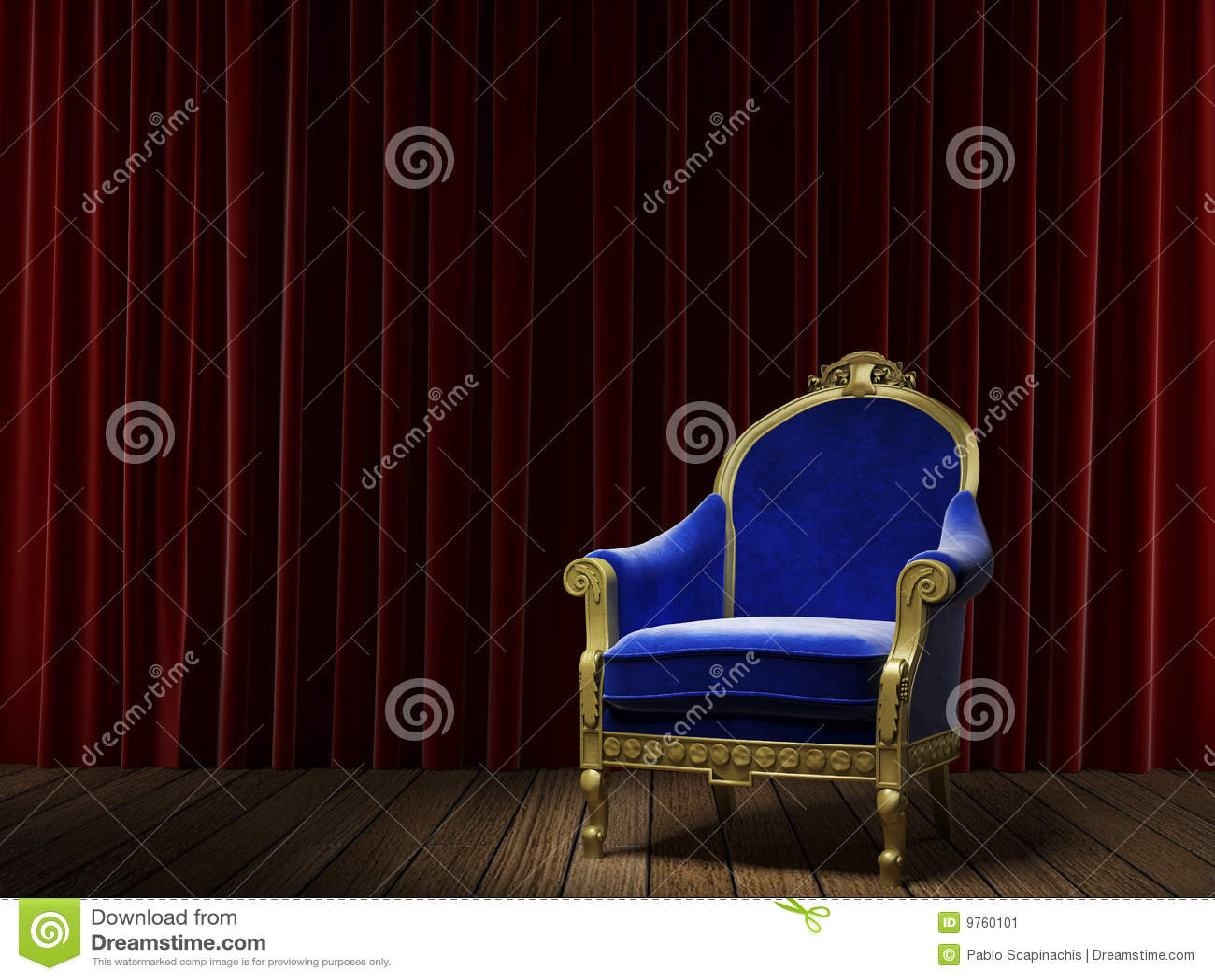 Butaca clásica azul en rojo