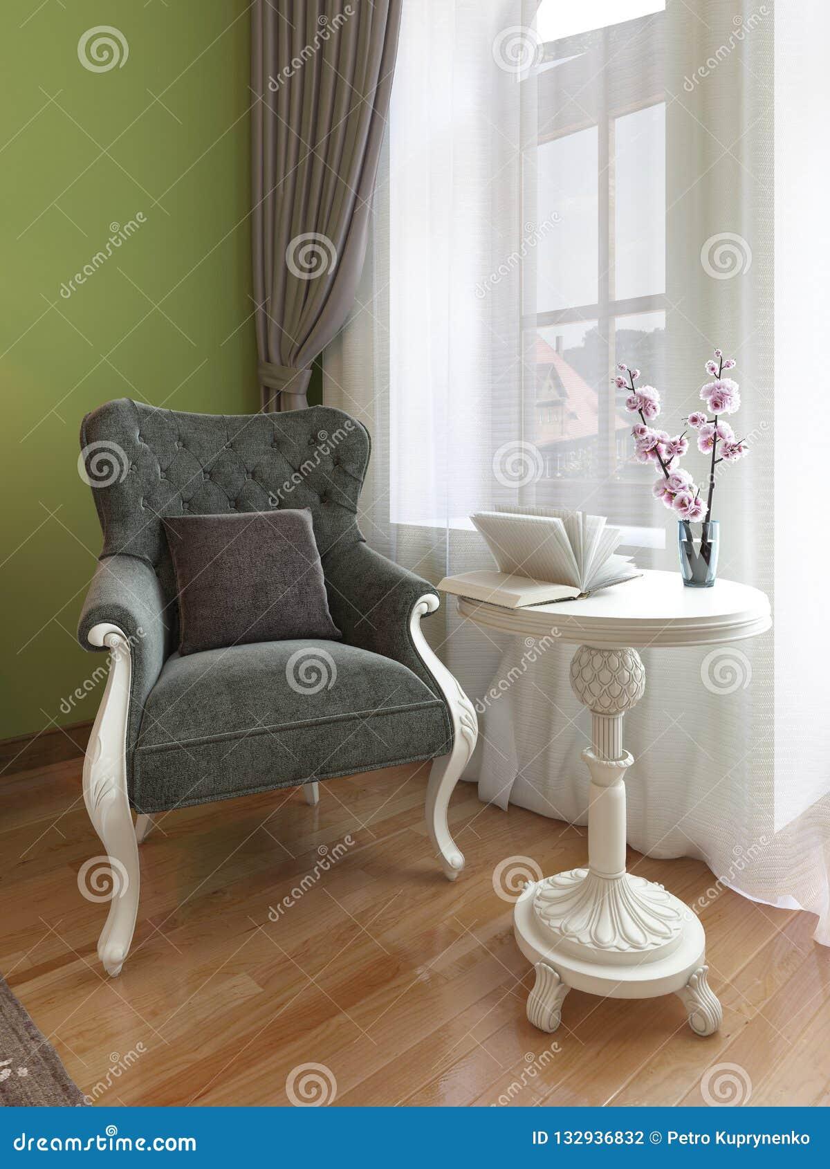 Butaca clásica con la mesa de centro blanca, estilo del este del dormitorio