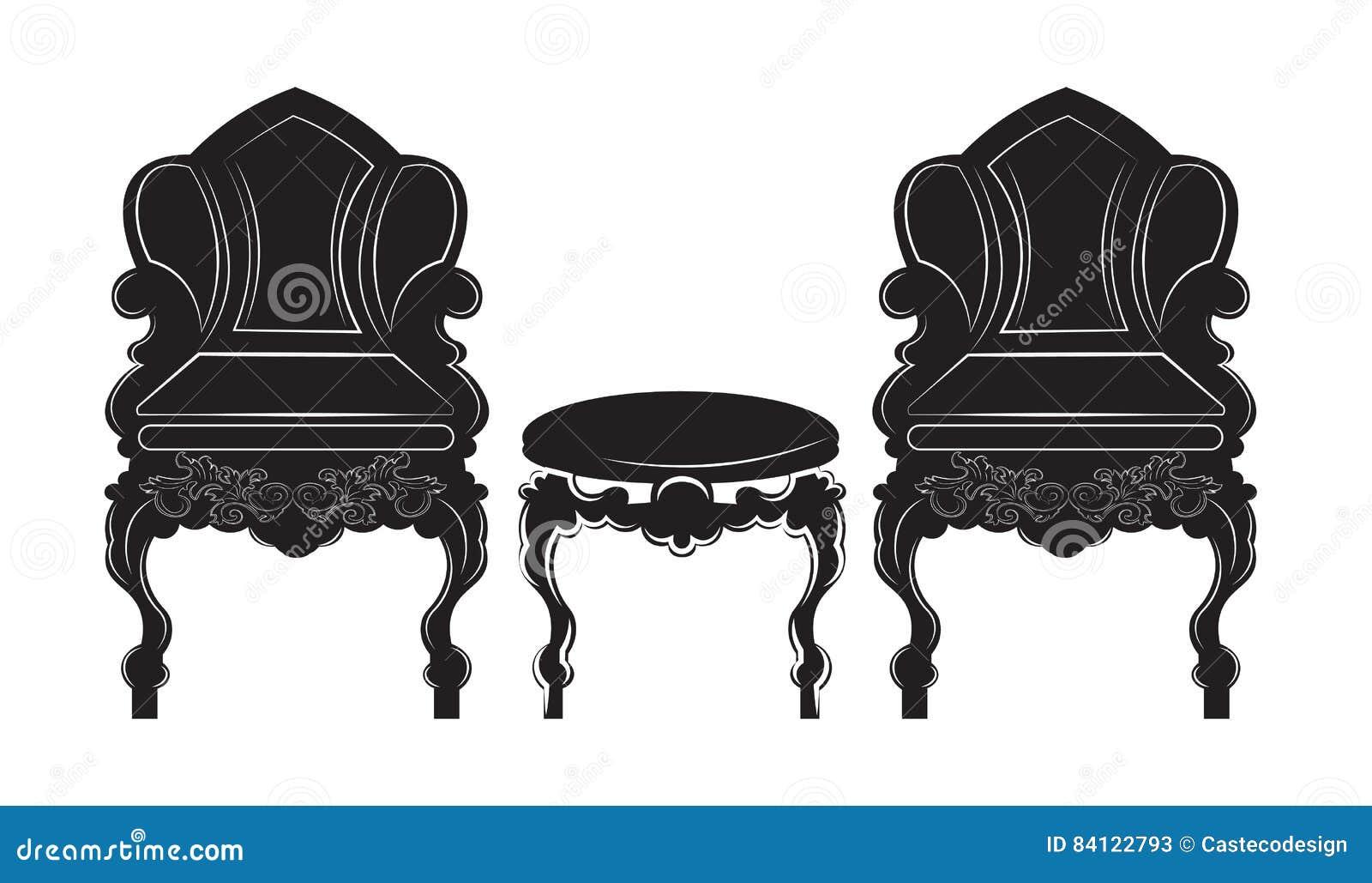 Butaca Del Estilo Del Vintage Y Muebles G Ticos De La Tabla  # Muebles Goticos