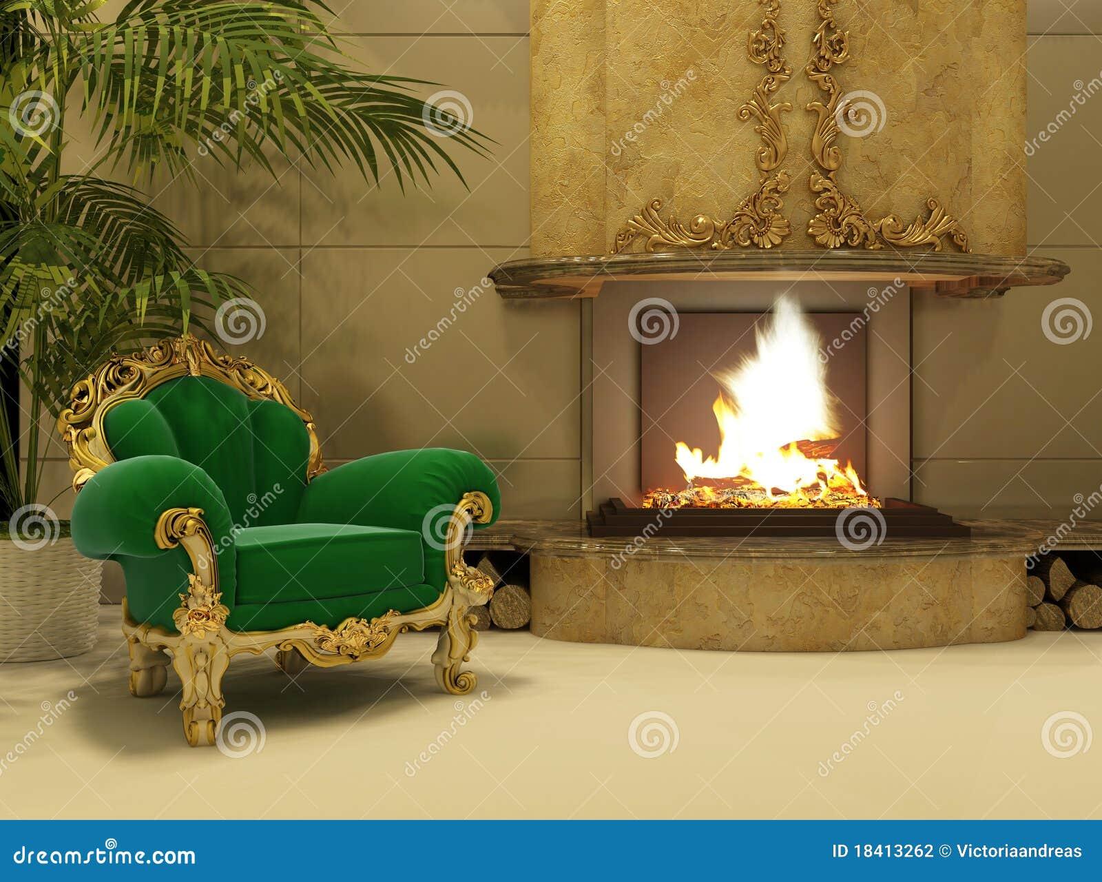 Butaca real por la chimenea en interior de lujo