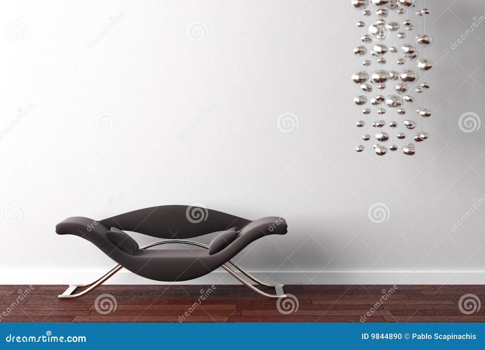 Butaca y lámpara del diseño interior