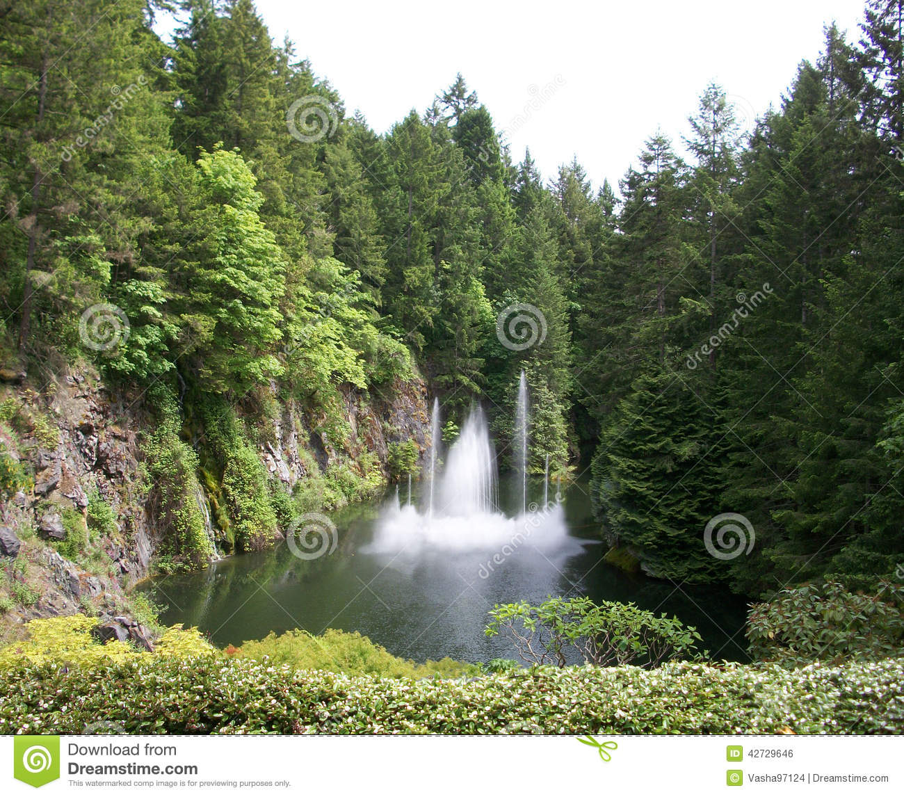 Butchart gardens waterfalls editorial photo image of - What time does victoria gardens close ...