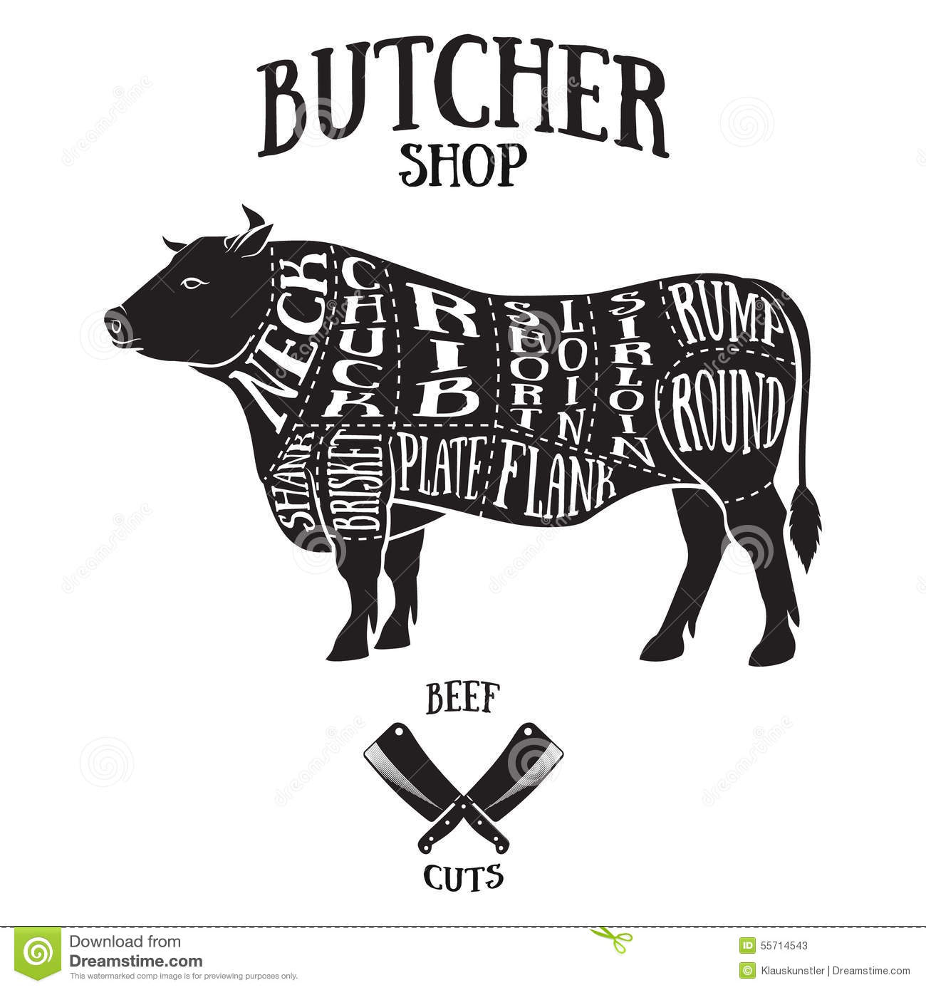 Cut Of Beef Set. Poster Butcher Diagram And Scheme - Cow. Vintage ...