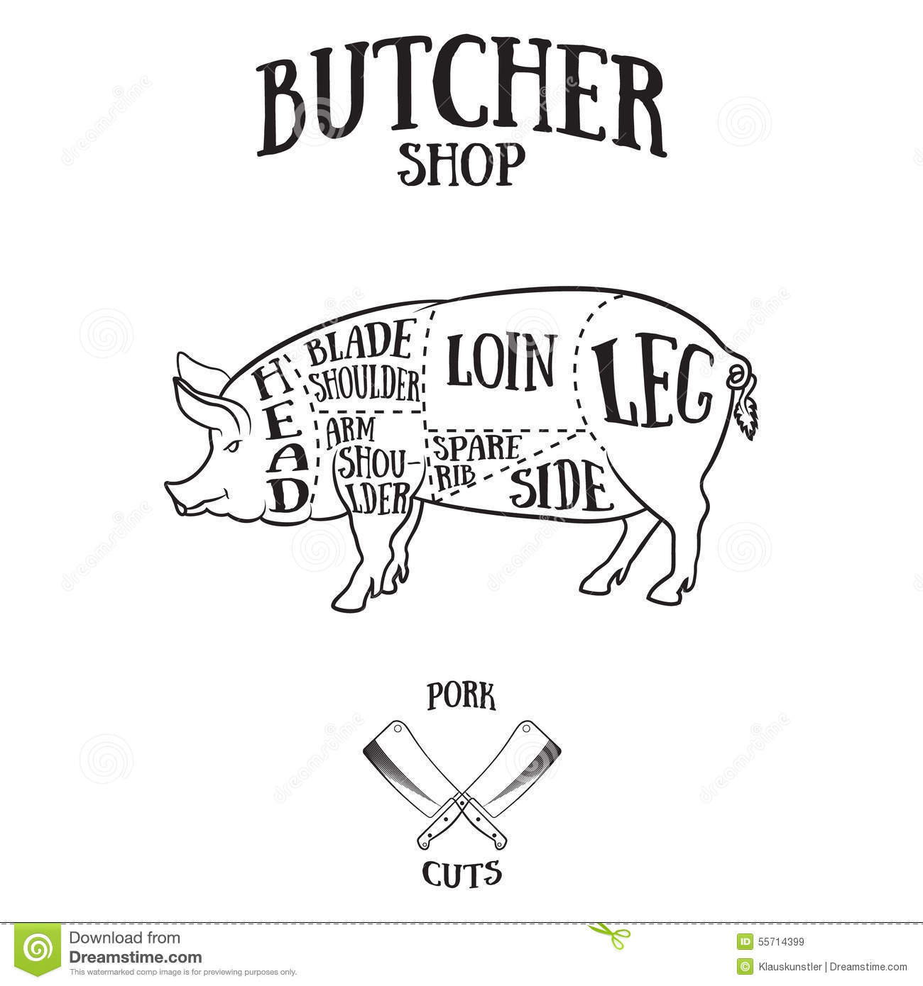 butcher cuts scheme of pork stock vector