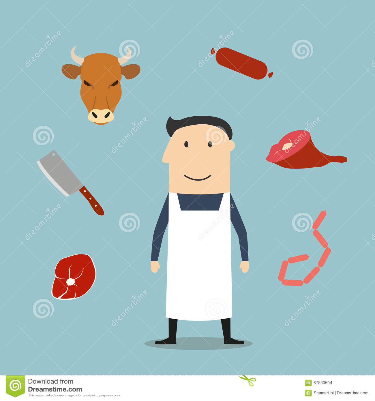 White apron meats - Butcher Man And Meat Icons