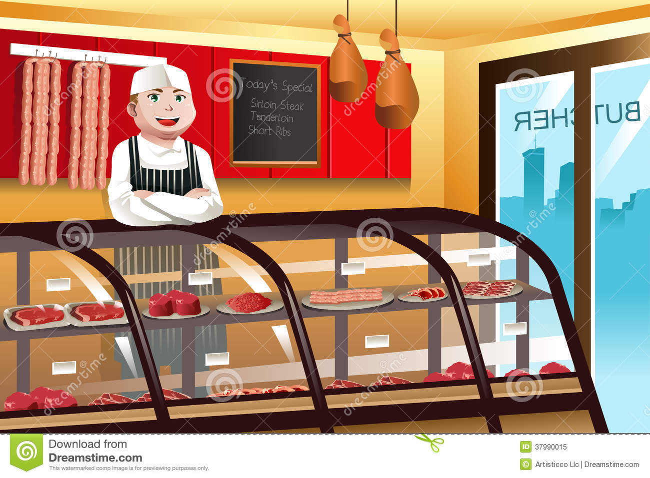 Butcher in a meat shop royalty free stock photo image 37990015