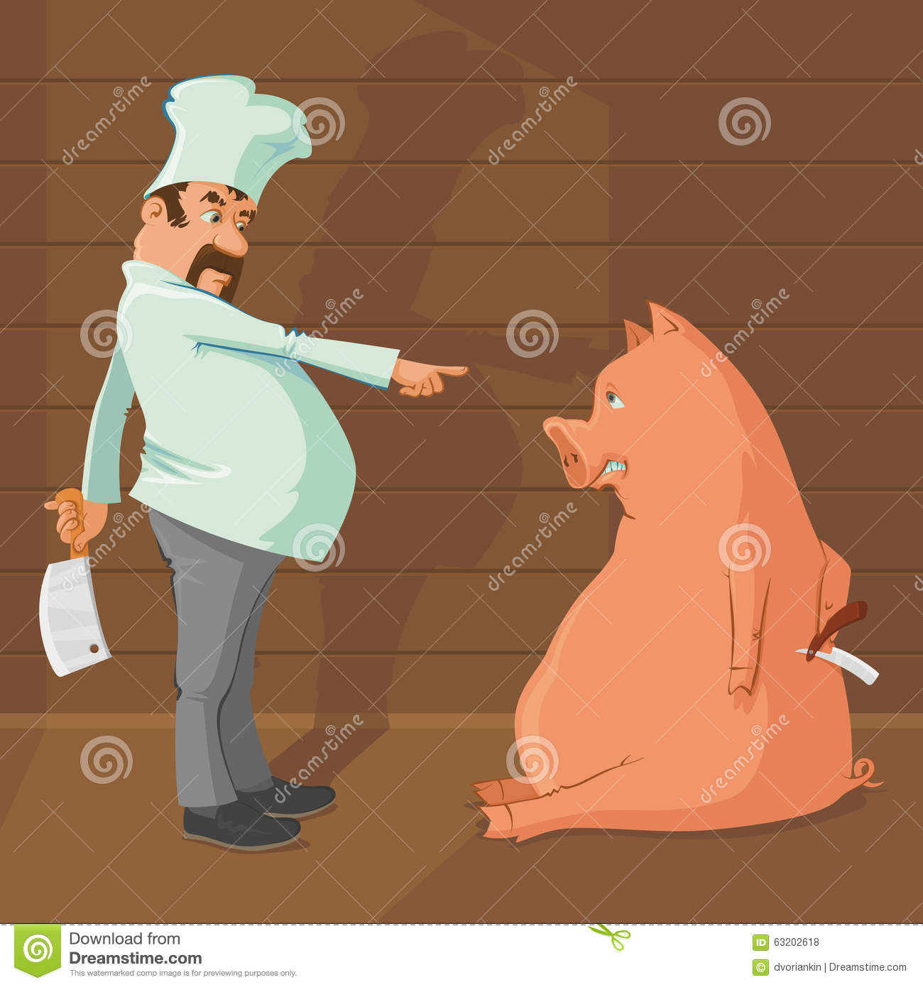 butcher and pig stock vector