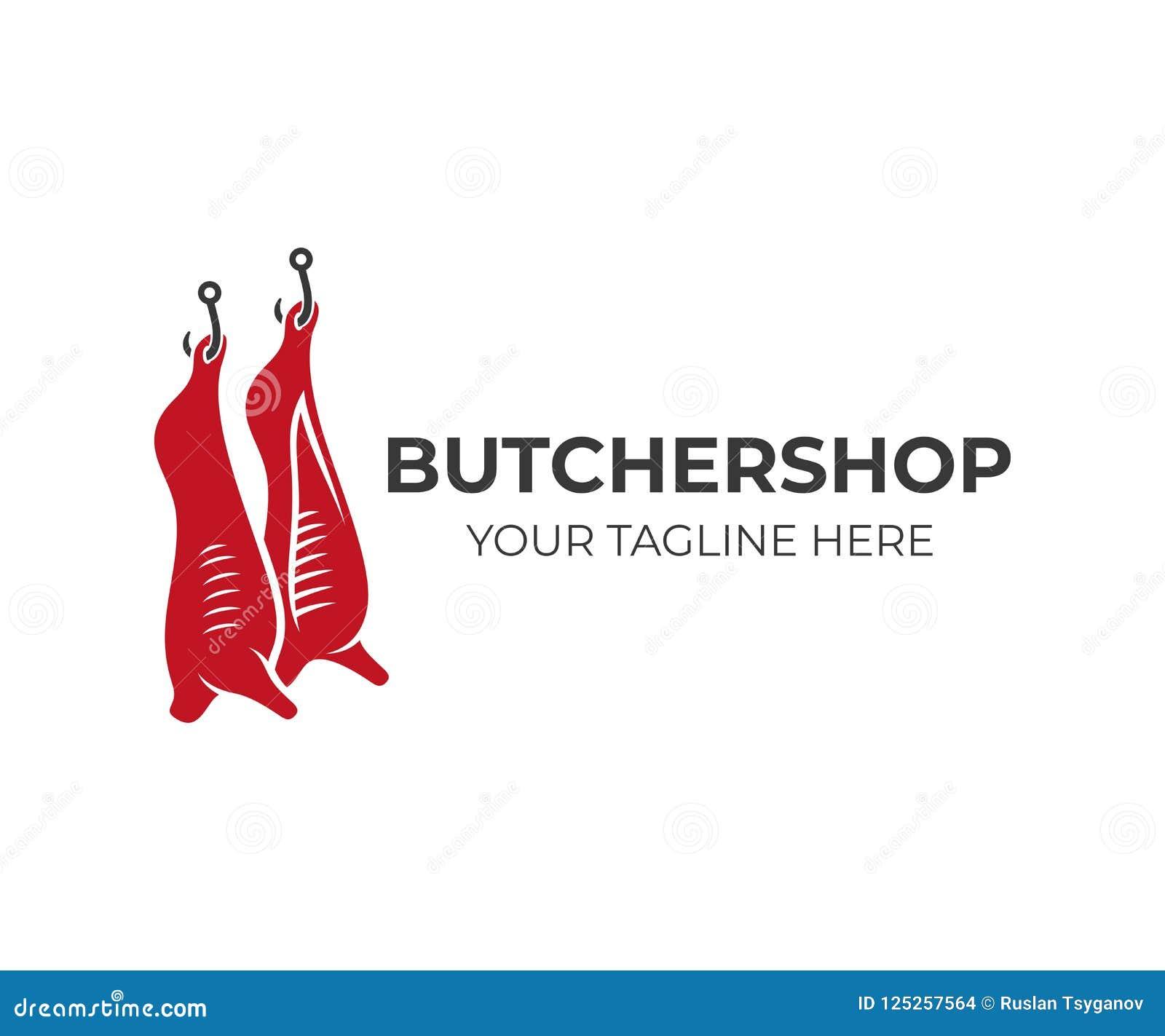 Butcher Shop And Animal Carcasses Hang On Hooks, Logo