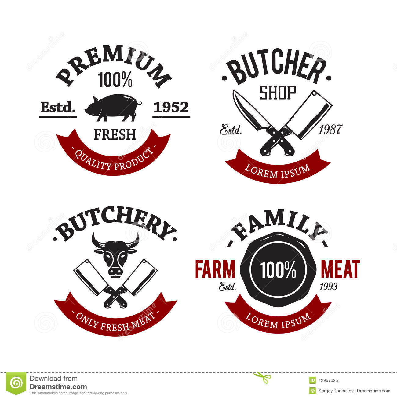 Butcher Shop Emblems Stock Vector - Image: 42967025