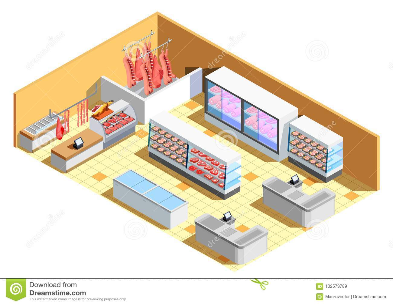 Butcher Shop Interior Isometric Composition Stock Vector