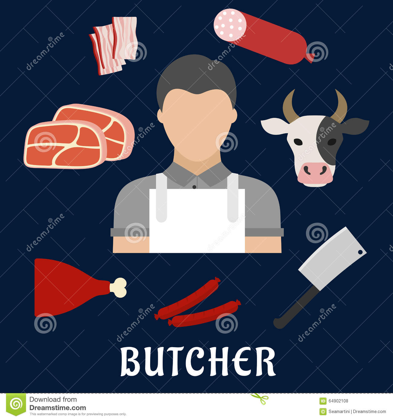 White apron meats - Butcher Shop And Meat Flat Icons Royalty Free Stock Photos