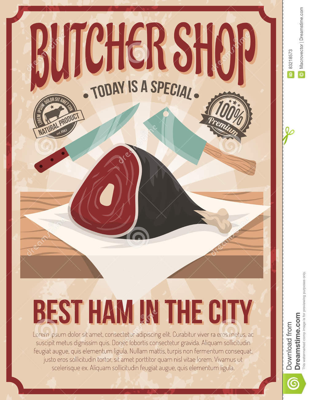 Butcher shop poster stock vector image 83218573 for Best store to buy posters