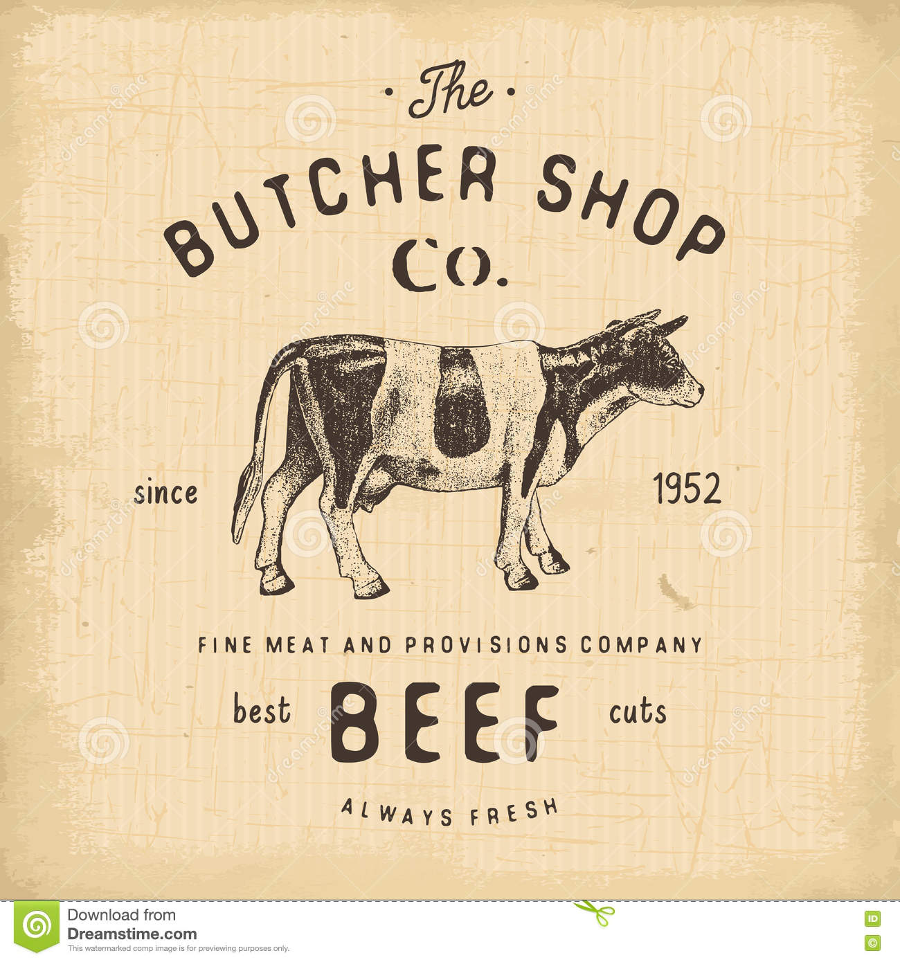 butcher shop vintage emblem beef meat products butchery logo template retro style vintage design for logotype label badge and cartoon vector cartoondealer com 71150649 cartoondealer com