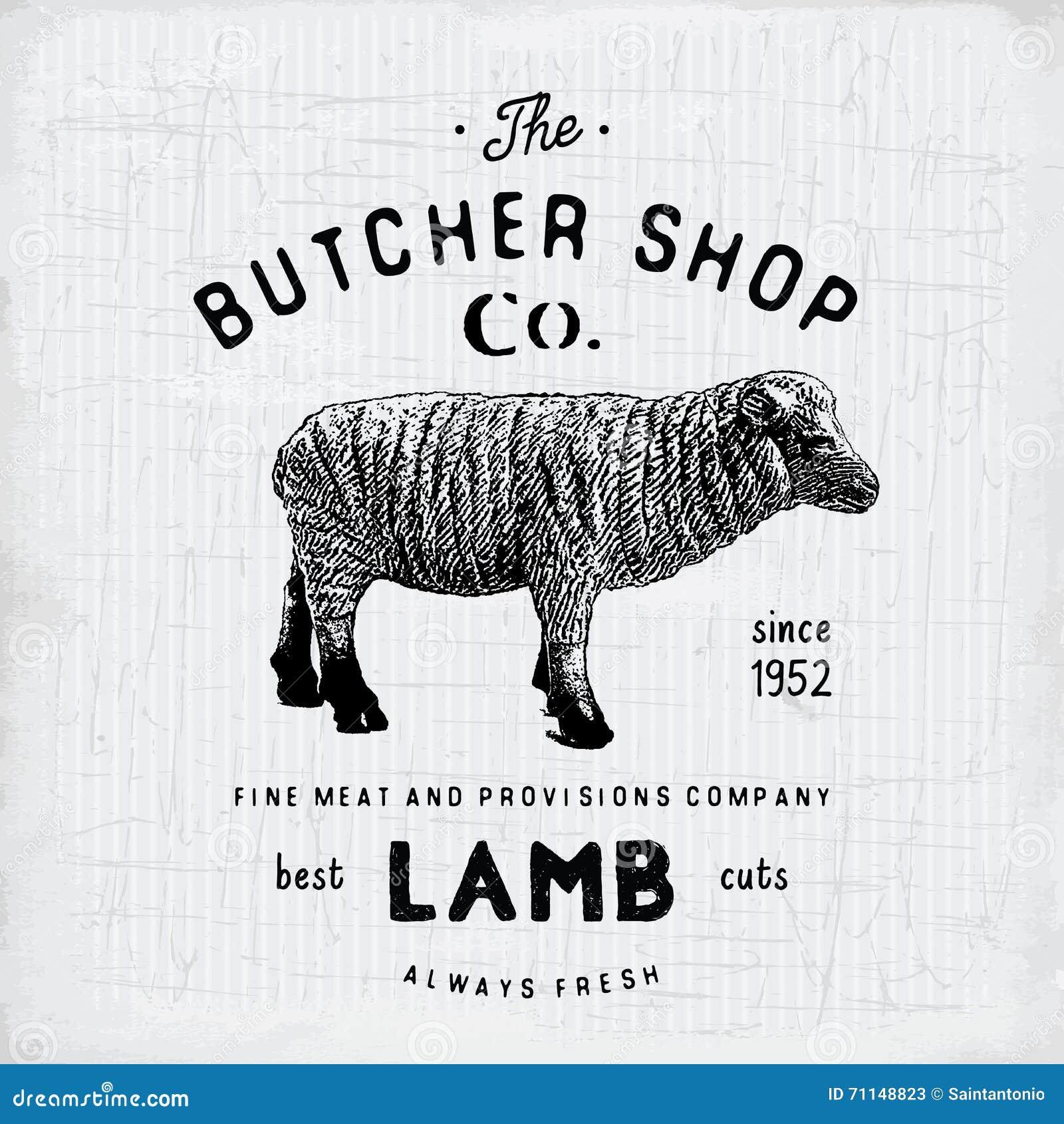 Butcher Shop Vintage Emblem Lamb Meat Products, Butchery Logo ...