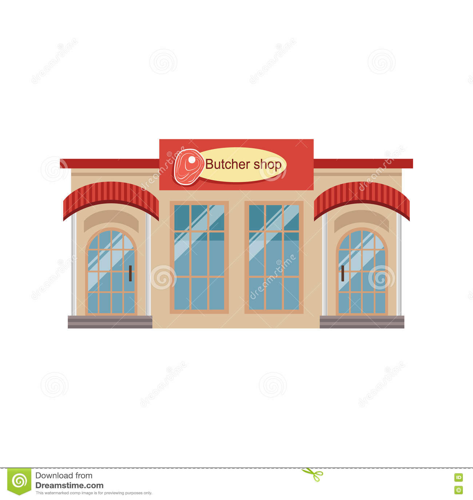 Butchery Commercial Building Facade Design Stock Vector - Image ...