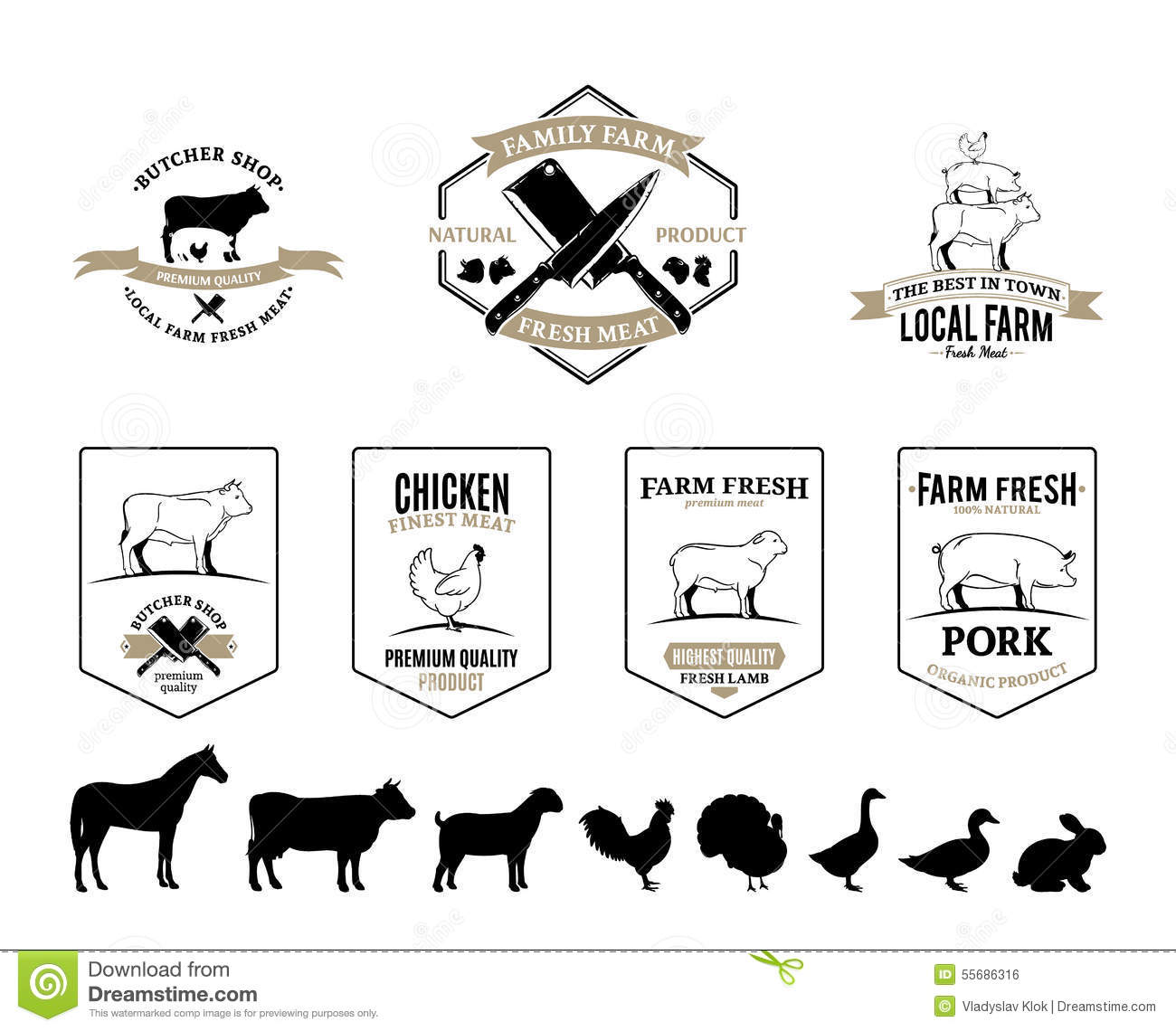 Butchery Logos Labels Farm Animals And Design Elements