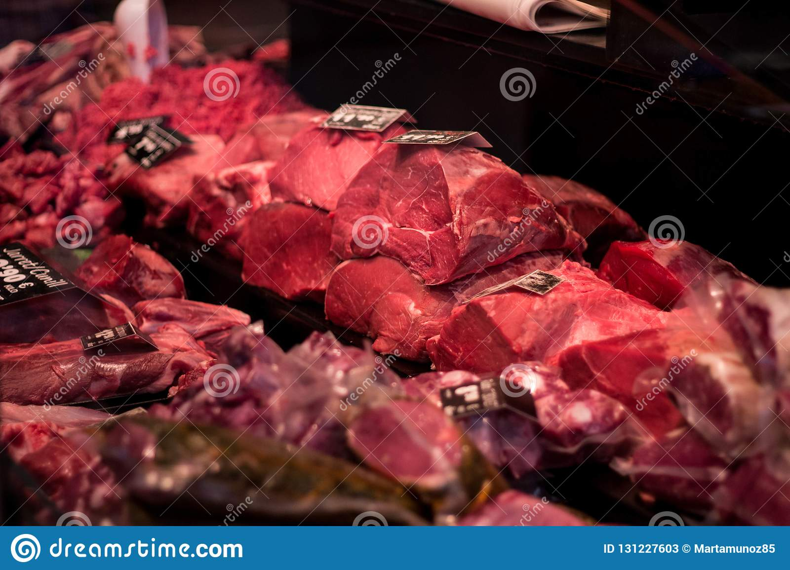 Butchery with read meat on sale