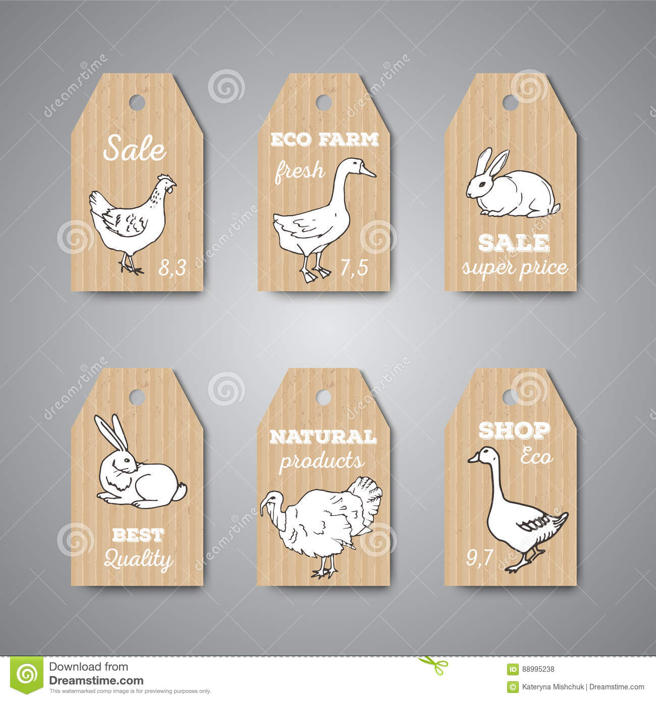 Butchery Shop Price Tags And Labels  Stock Vector