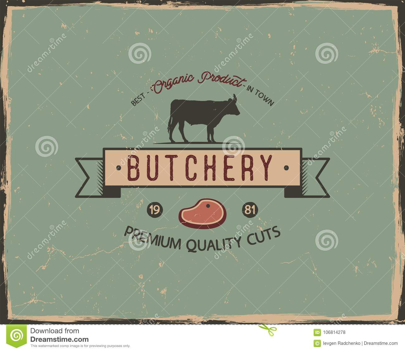 butchery shop typography poster template in retro old style offset and letterpress design letter