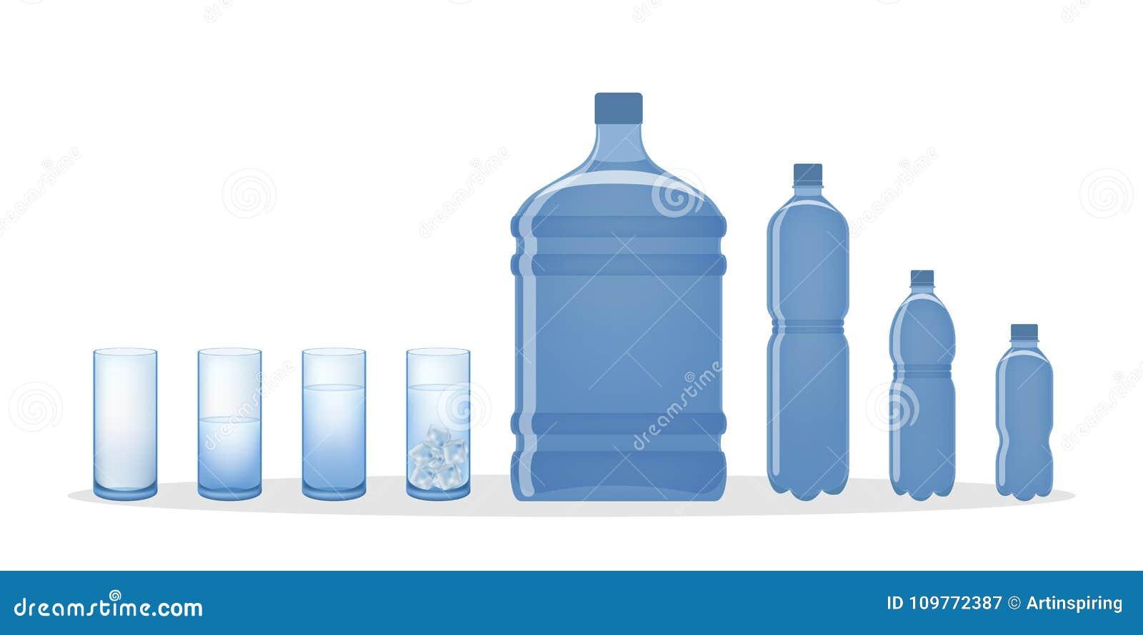 Butelek szklanek wody