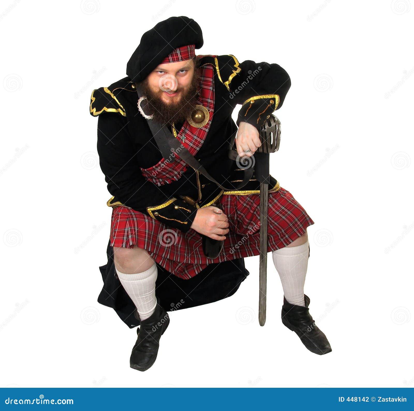 Butelka czerwonego wina szkocki wojownika.