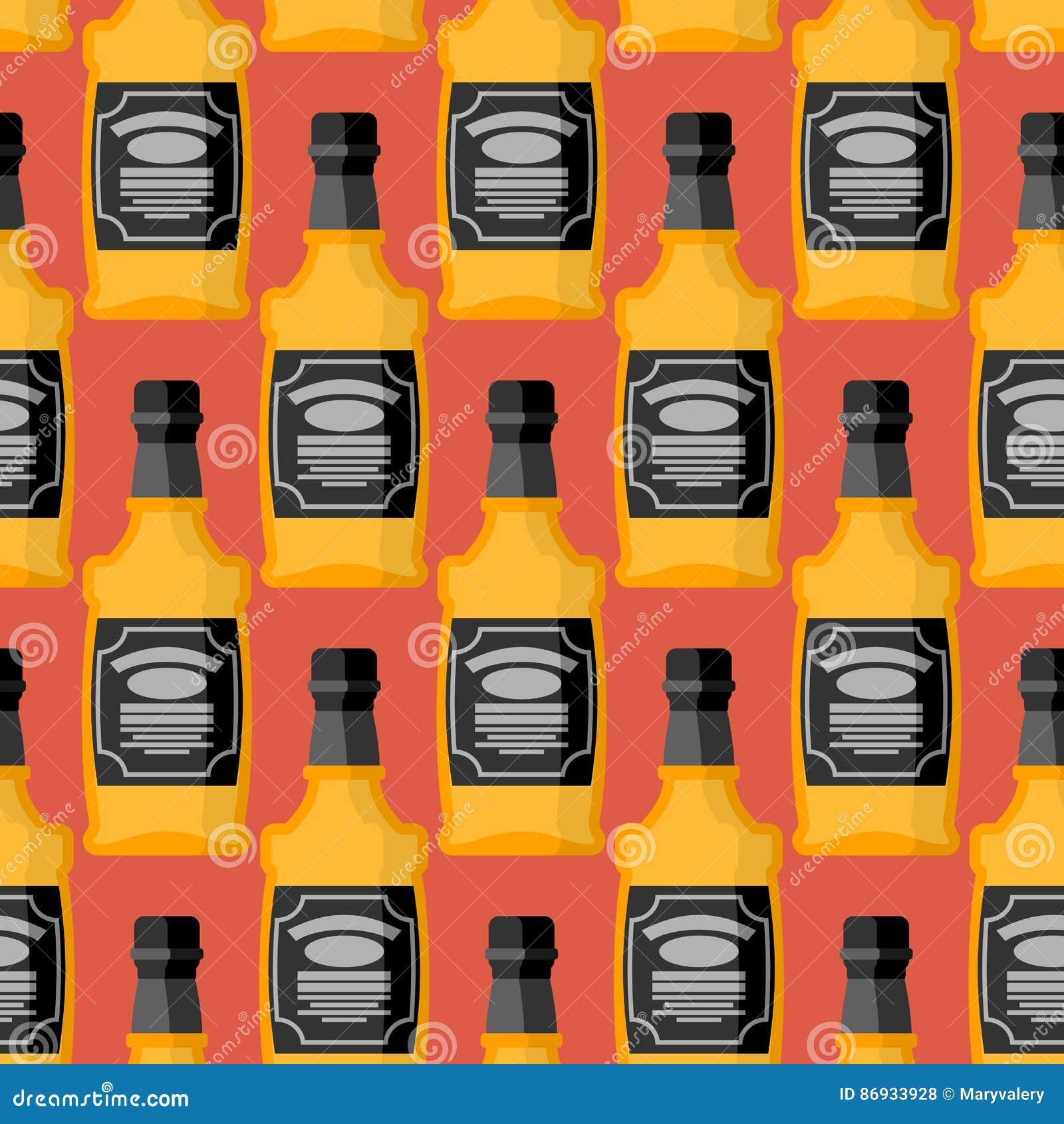Butelka whisky bezszwowy wzór Bourbonu ornament Tequila te