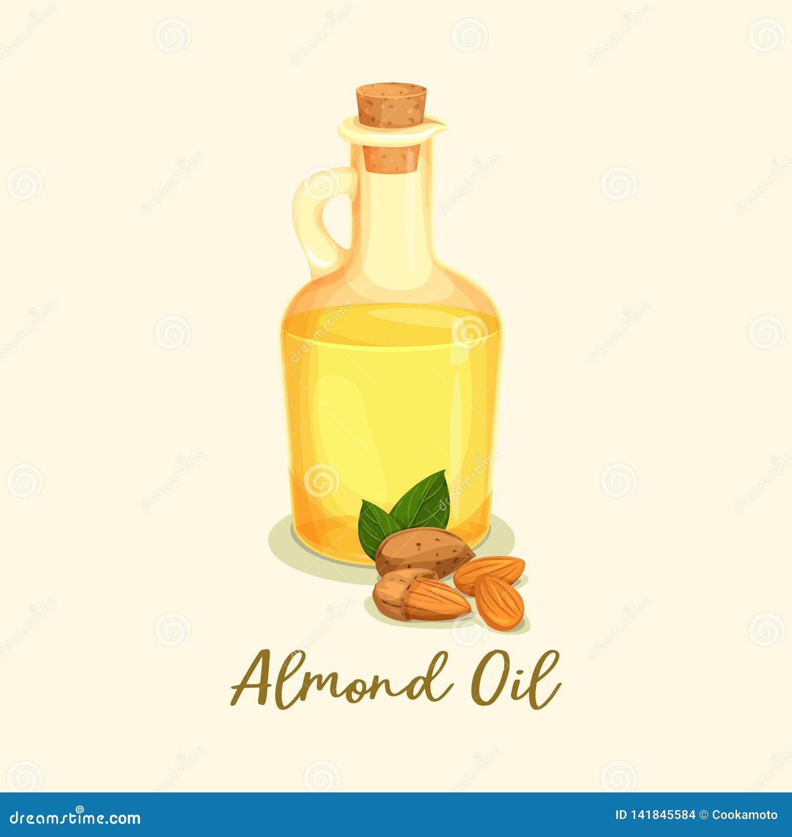 Butelka z złotym migdałowym olejem lub słojem blisko dokrętek