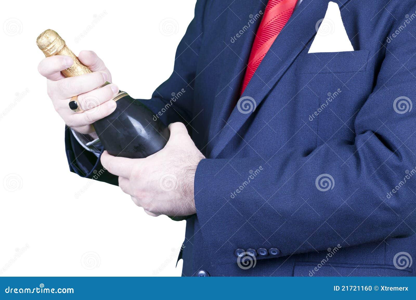 Butelki biznesmena szampan