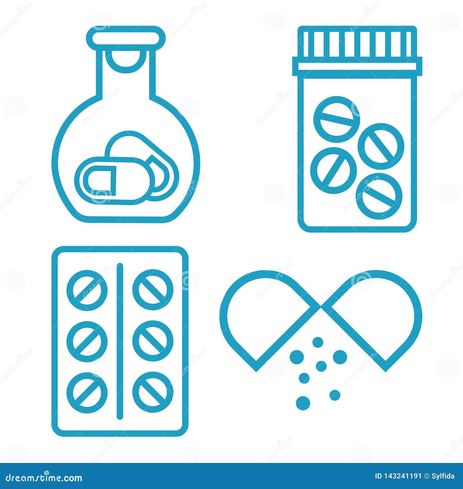 Butelki medycyny pigułki Buteleczka z pigułkami, błękitna medyczna ikona również zwrócić corel ilustracji wektora