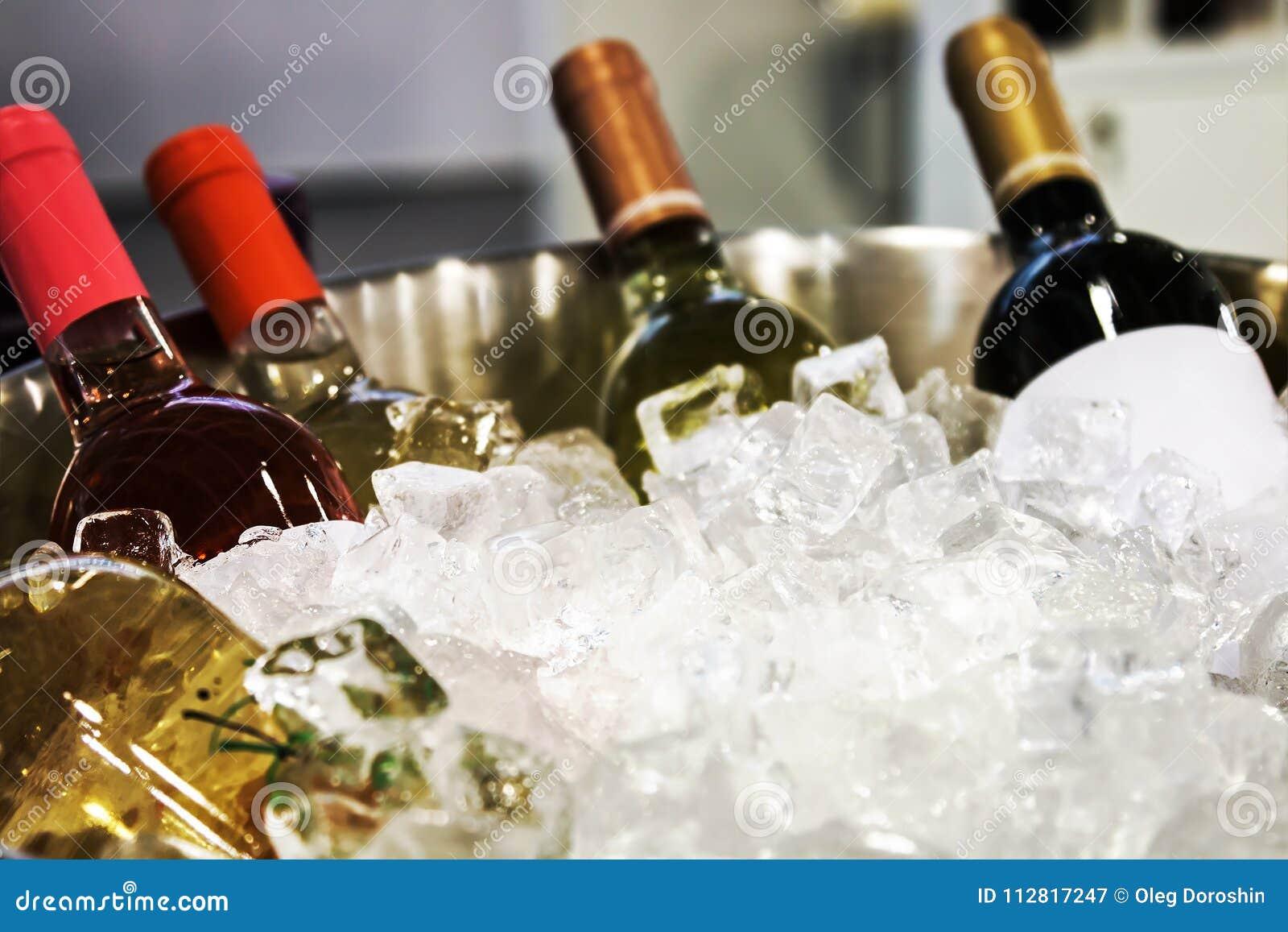 Butelki wino w lodzie przy degustacją