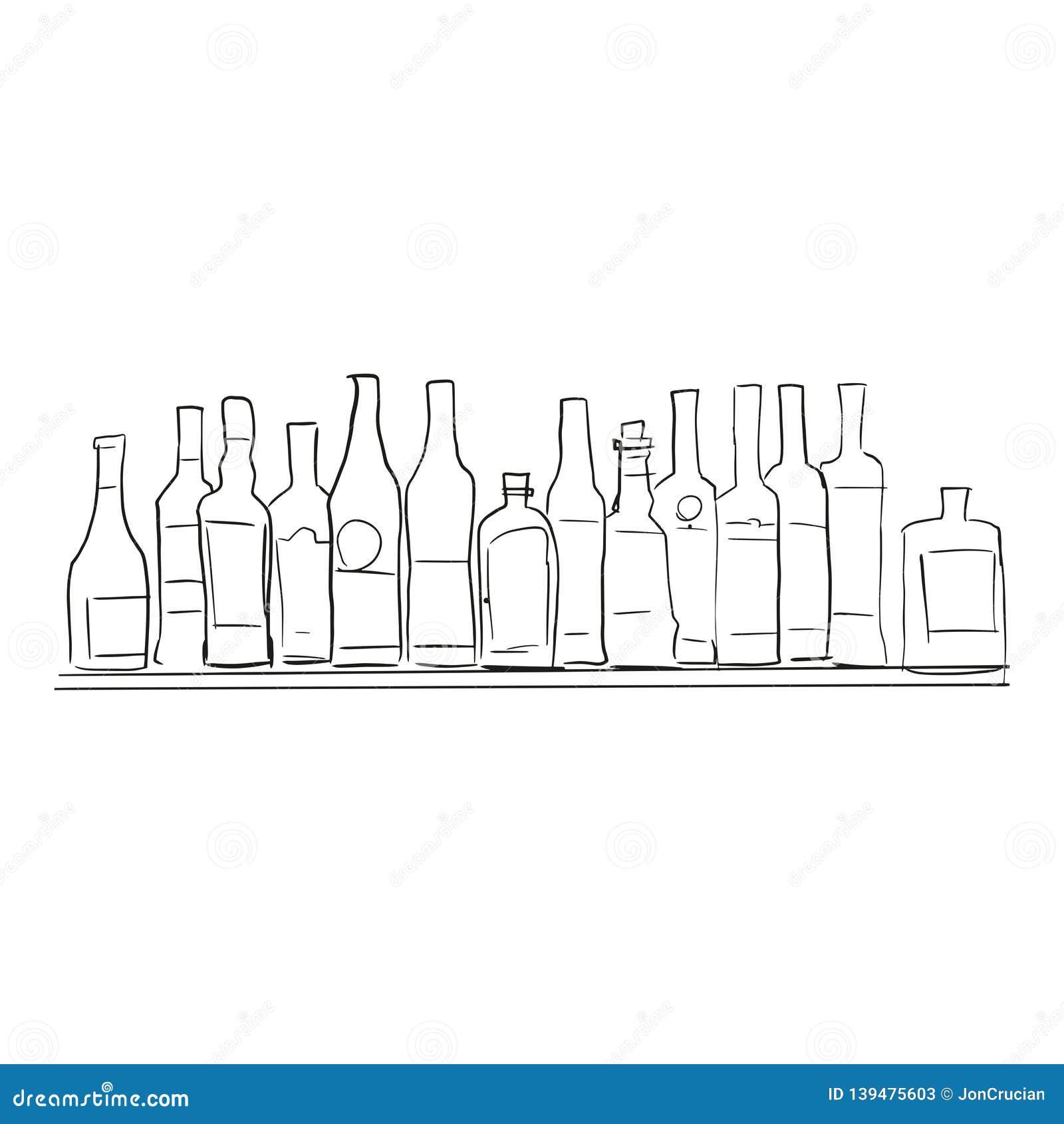 Butelkuje półkę wektor