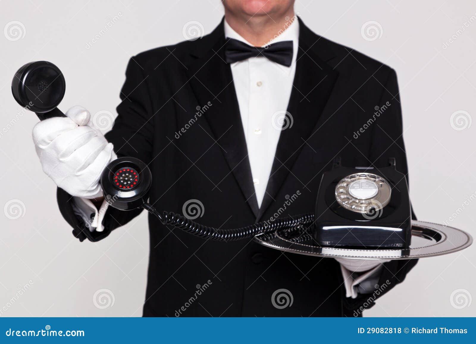 Butler handing you a telephone
