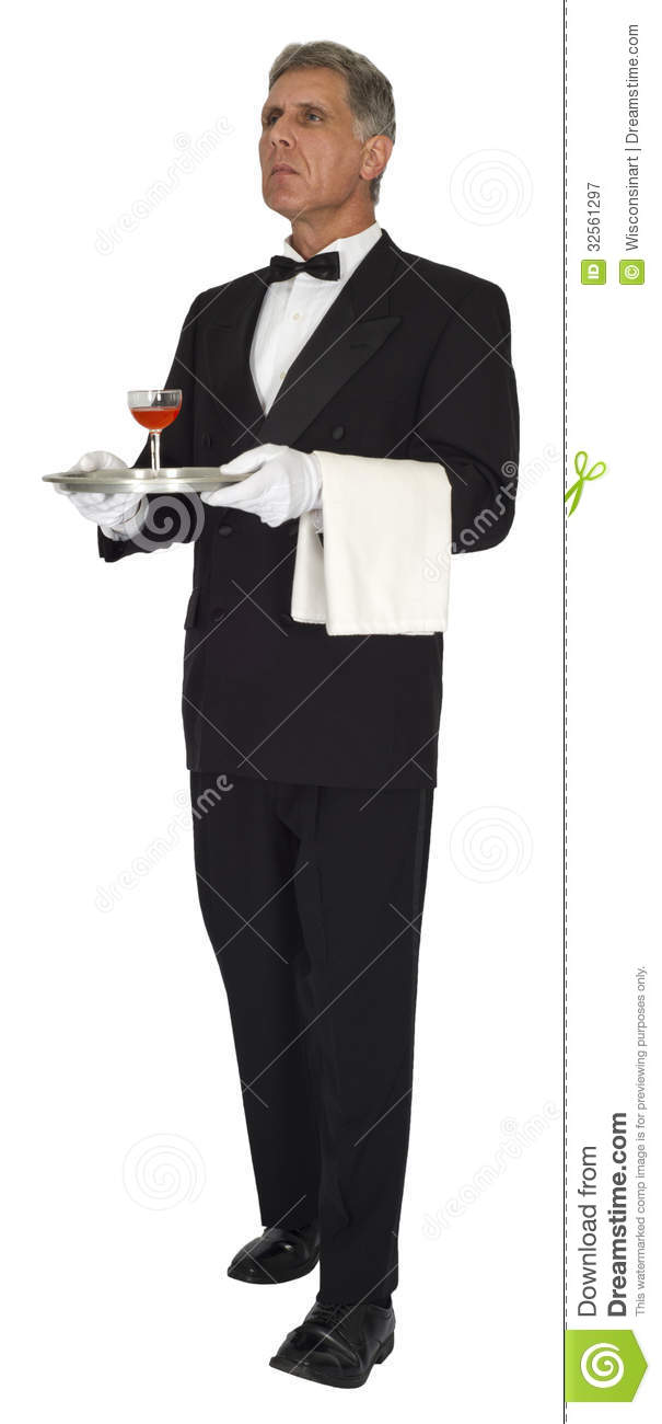 butler, head waiter, or server is standing and carrying a tray. The ...