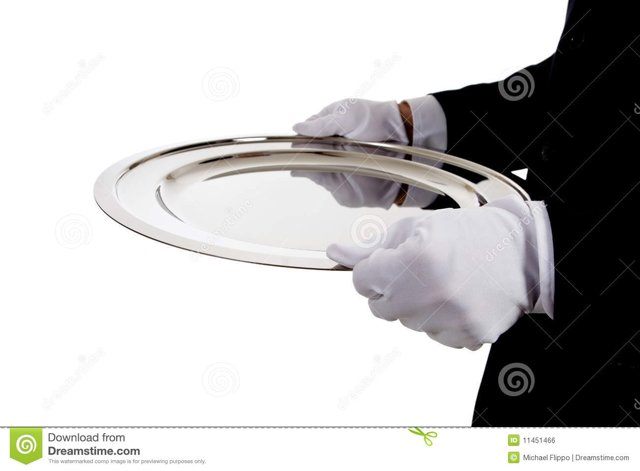A butler holding a silver tray on white