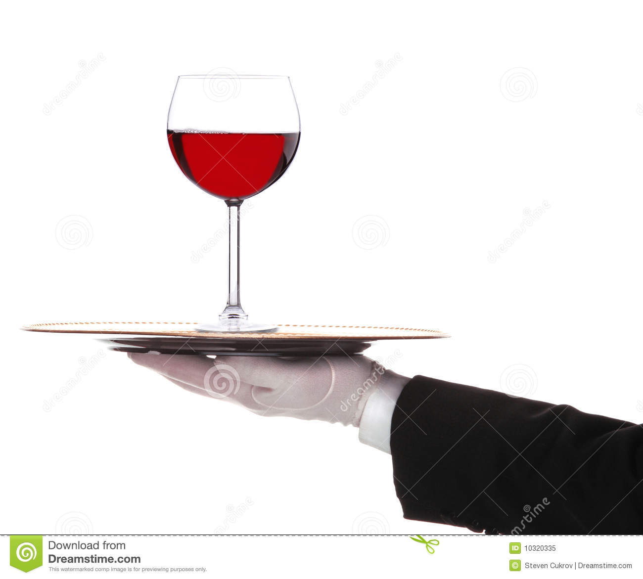 Butler with Red Wine Glass on Tray