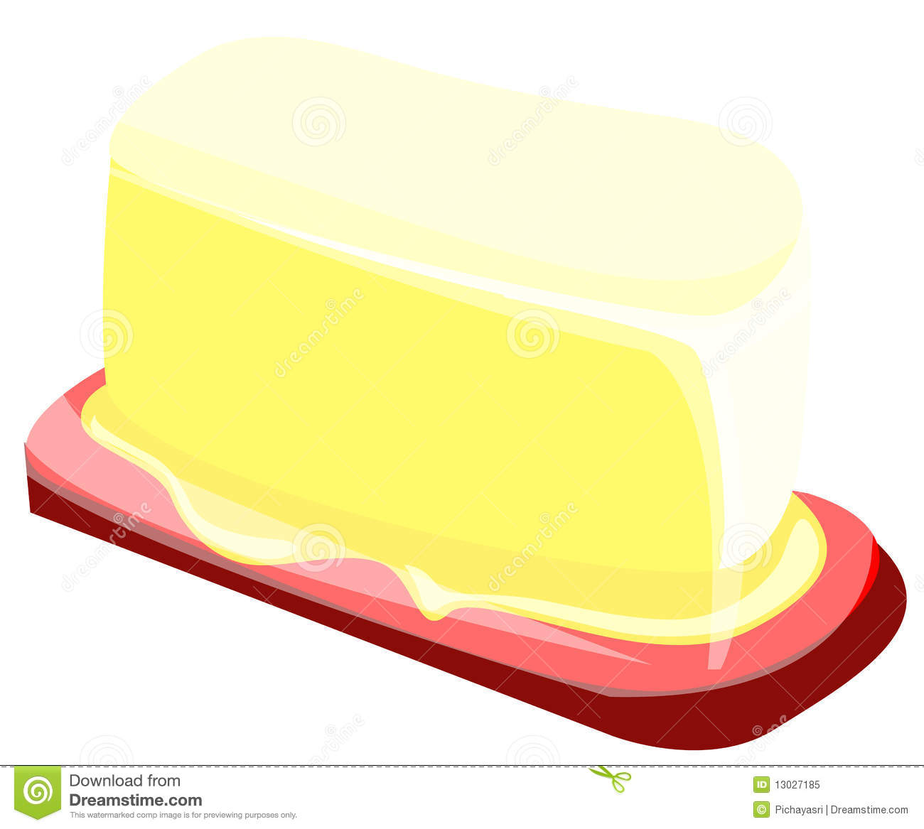 Illustration of isolated piece of butter on a plate.