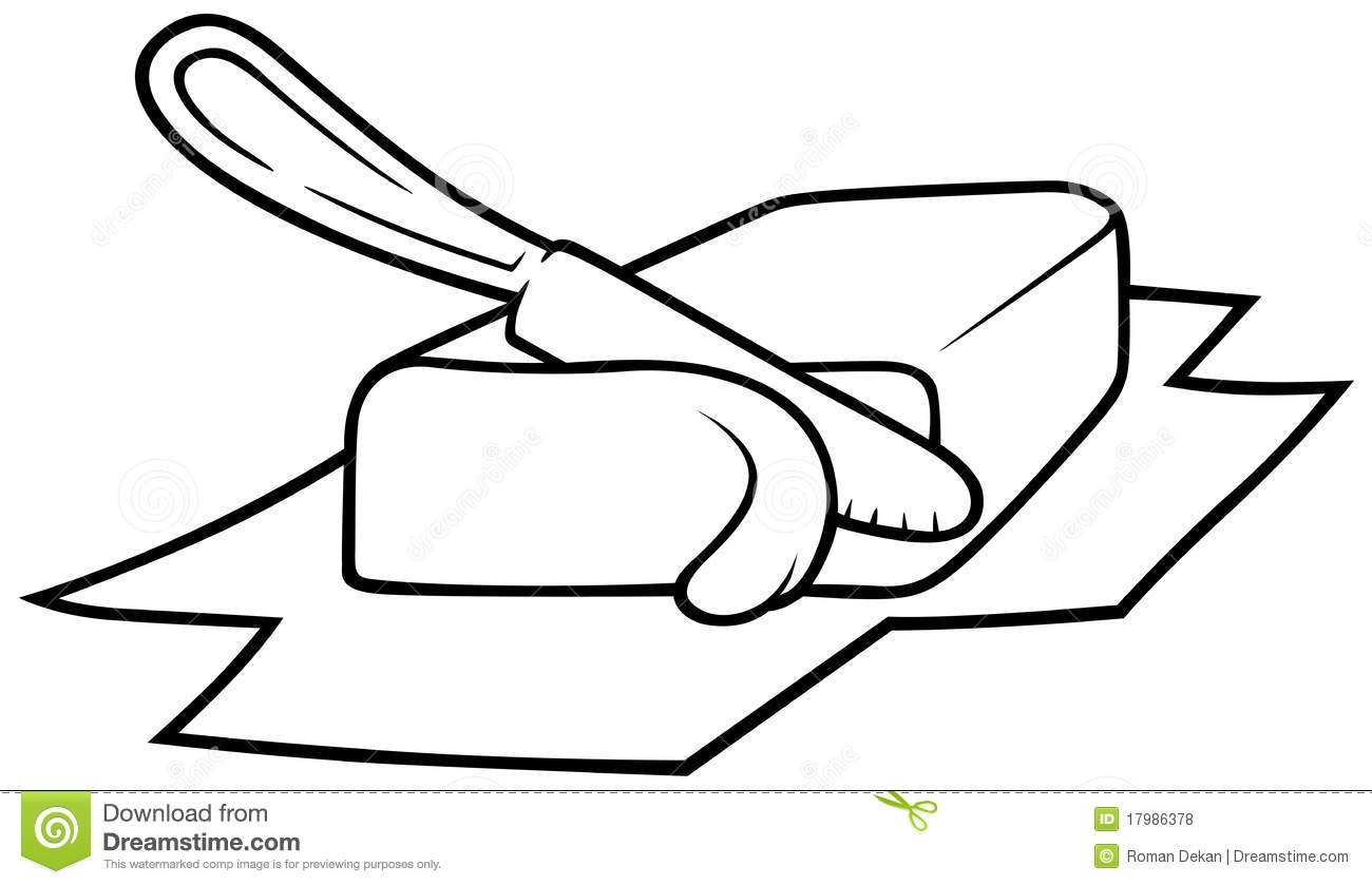 Knife Cutting Butter, Black and White Cartoon illustration, Vector.