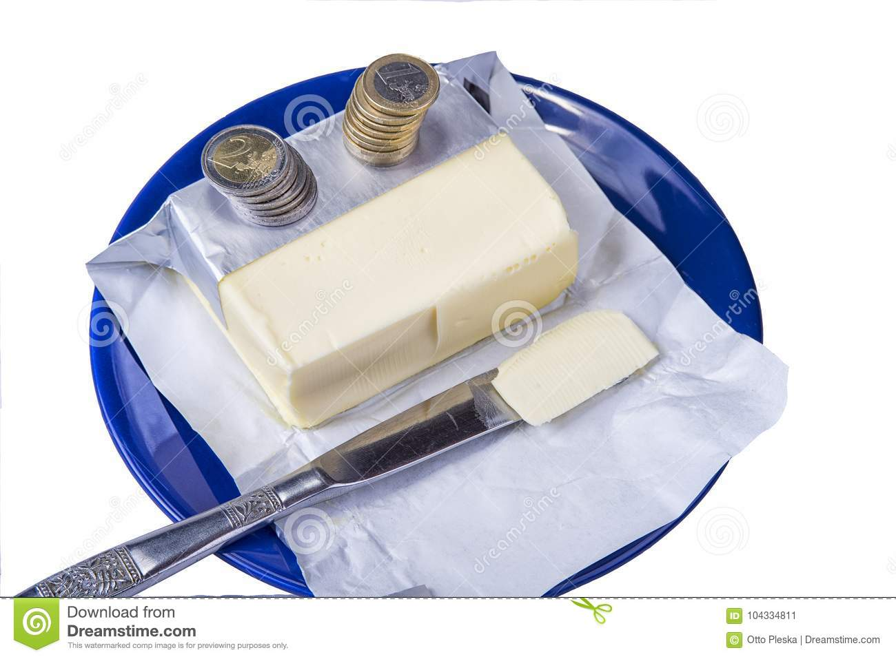 Butter on the blue plate with euro coins money on white
